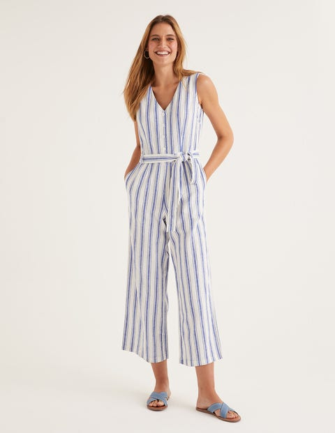 Verity Jumpsuit - Cobalt Stripe