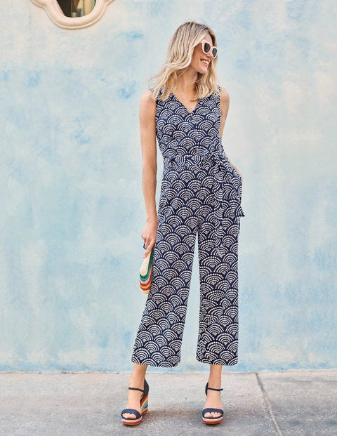 Verity Jumpsuit - Navy, Rainbow Dot