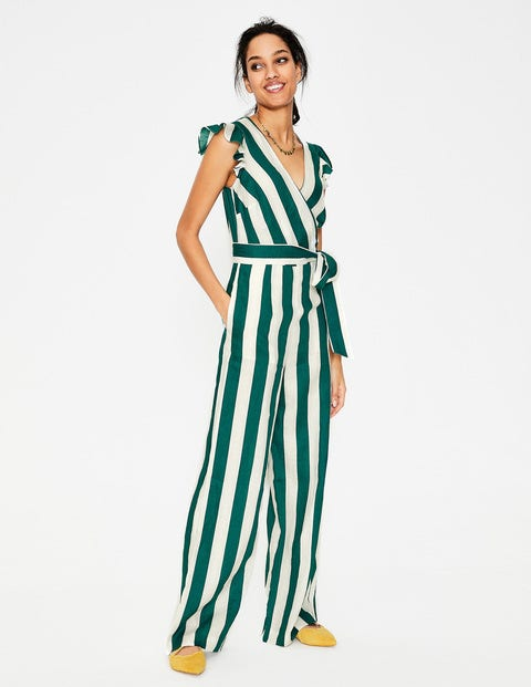 Mila Jumpsuit - Woodland Green, Ivory Stripe