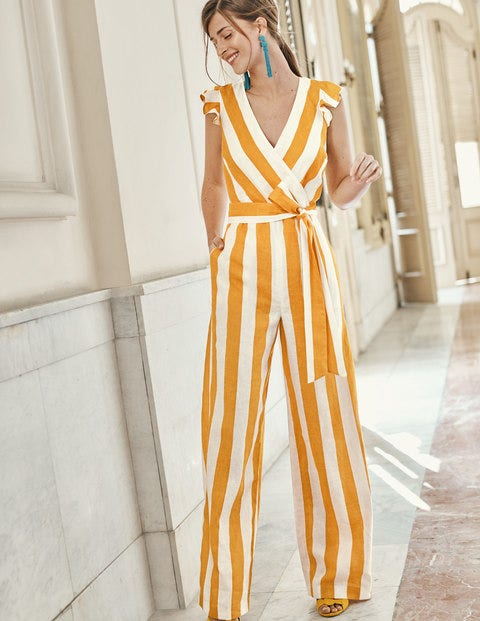 Mila Jumpsuit - Yellow Ochre, Ivory Stripe
