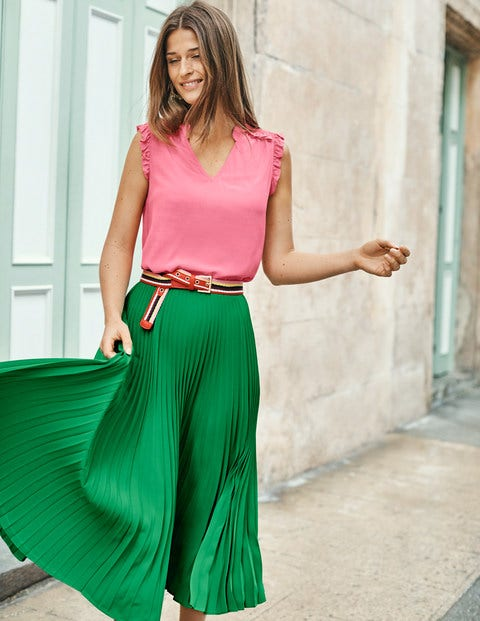 Kristen Pleated Skirt - Highland Green