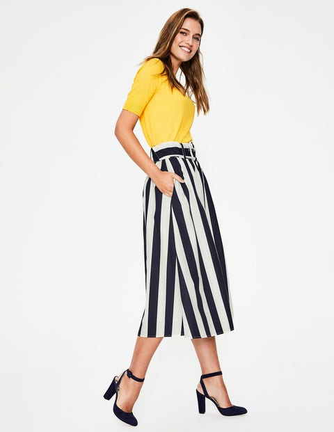 classic fit 100% quality quarantee double coupon Rebecca Midi Skirt - Navy and Ivory Stripe