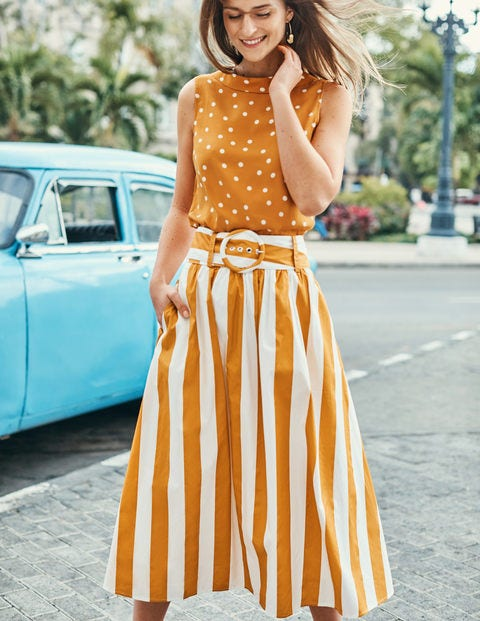 Rebecca Midi Skirt - Yellow Ochre and Ivory Stripe
