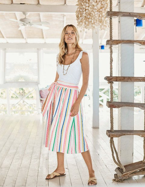 Cathy Midi Skirt - Fluro Stripe