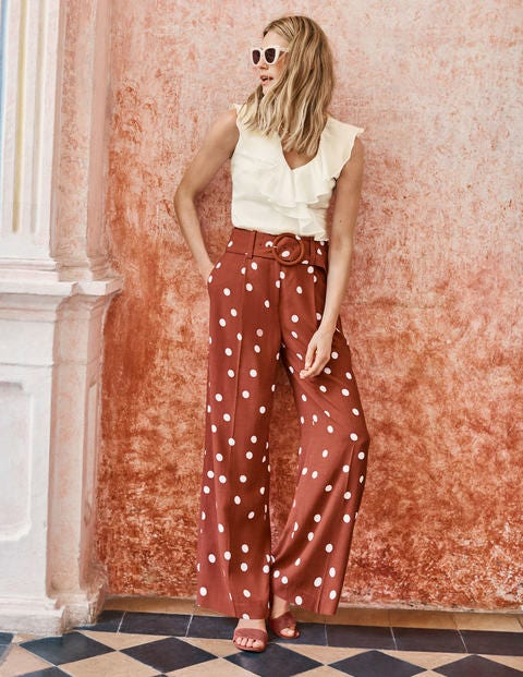 Carrick Wide Leg Trousers - Conker and Ivory, Brand Dot