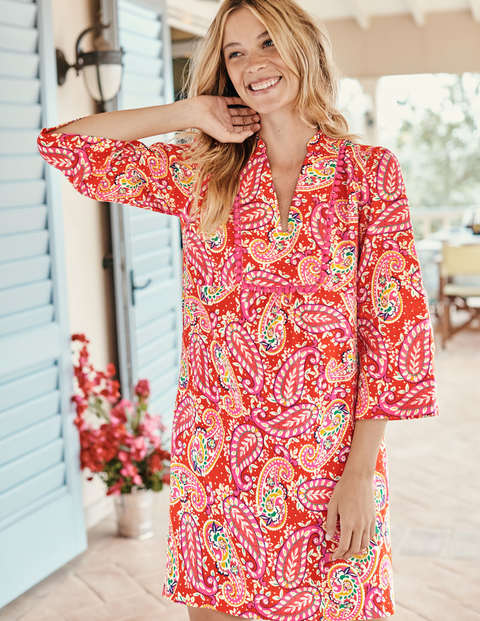 Evangeline Linen Tunic - Red Pop. Mexican Paisley
