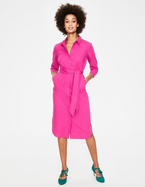Freya Linen Shirt Dress - Tickled Pink
