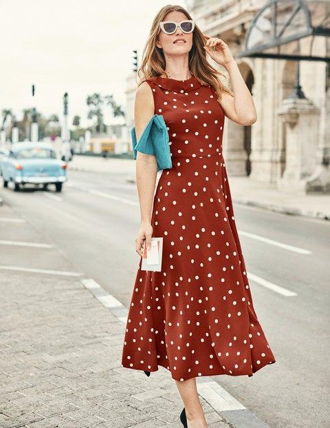 Clarissa Midi Dress - Conker & Ivory Spot
