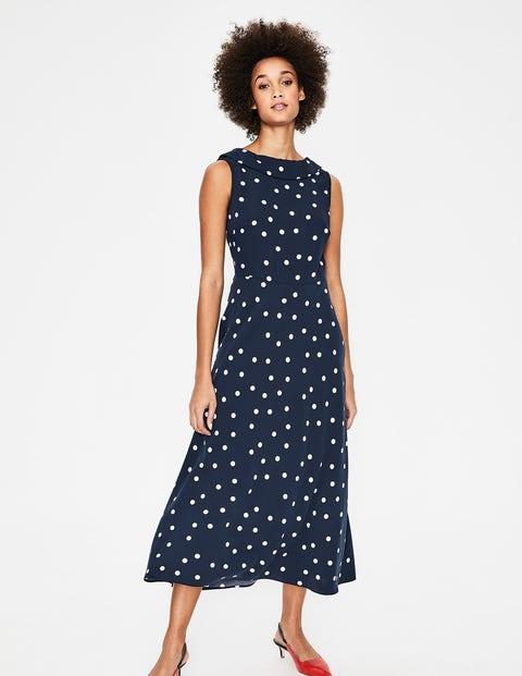 Clarissa Midi Dress - Navy & Ivory Spot