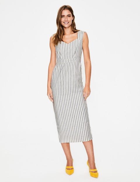 Frances Midi Dress - Ivory & Navy Stripe