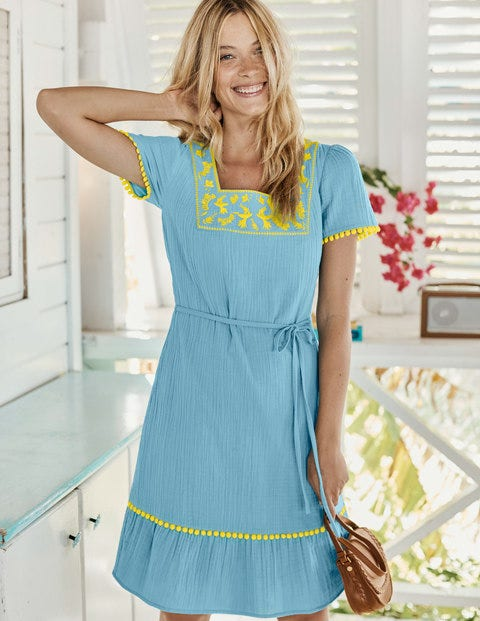 Bernadette Embroidered Dress - Heron Blue