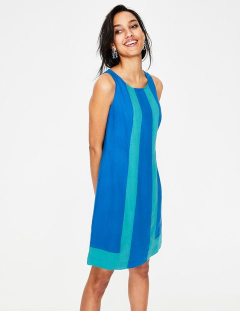 Tilly Linen Dress - Cyan
