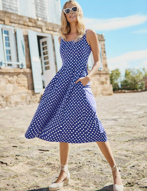 Sabina Midi Dress - Lapis Spot Star