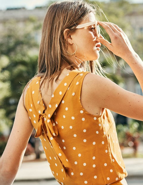 Adriana Top - Yellow Ochre, Scattered Dot