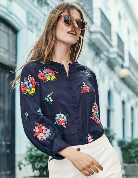 Claudia Embroidered Blouse - Navy