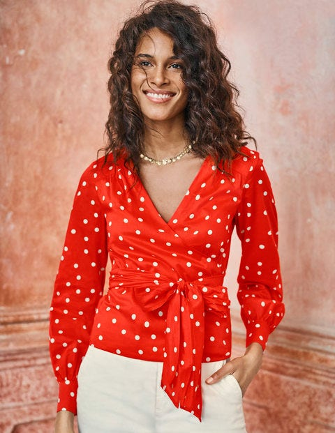Rosamund Wrap Top   Popsicle Scattered Dot by Boden
