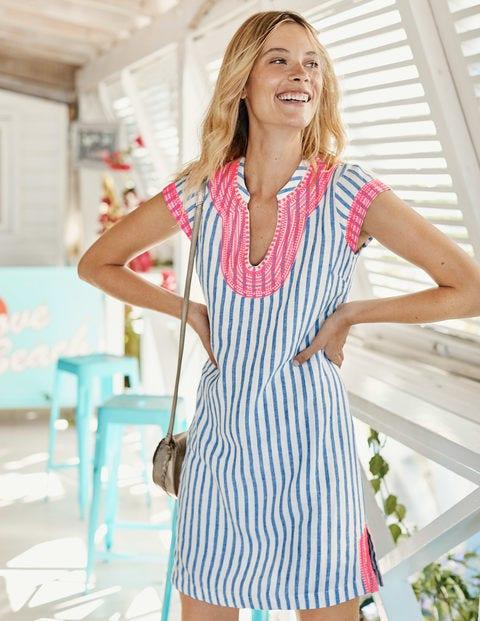Yasmin Embroidered Linen Tunic - Ivory & Cyan Stripe