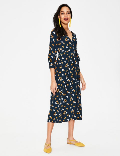 Floris Wrap Dress - Navy Daisy Cloud