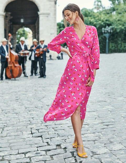 Floris Wrap Dress - Tickled Pink Daisy Cloud