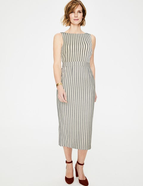 Maggie Midi Dress - Ivory & Navy Stripe