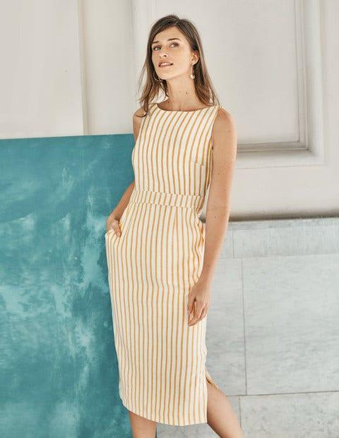 Maggie Midi Dress - Yellow Ochre Stripe