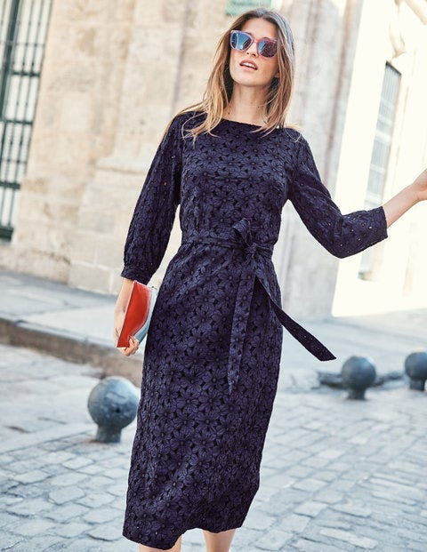 Claudette Broderie Midi Dress - Navy