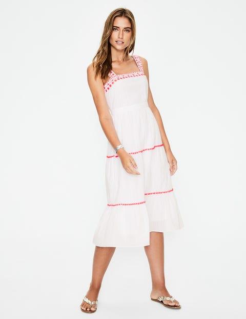 Estella Embroidered Midi Dress - White