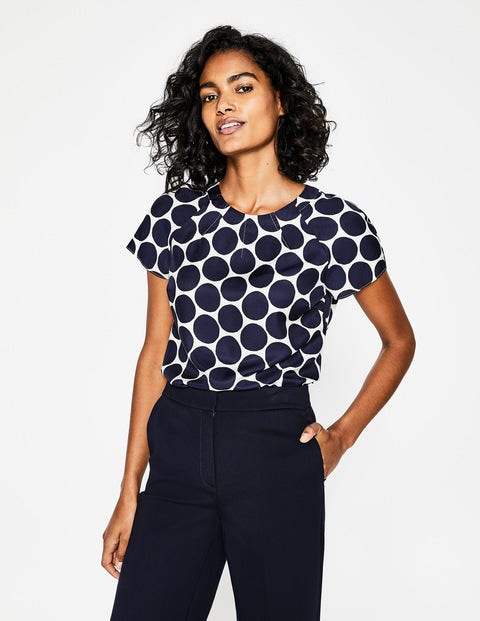 Daria Top - Ivory and Navy, Brand Spot