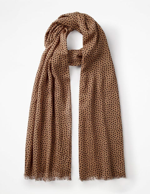 Printed Scarf - Soft Truffle and Black