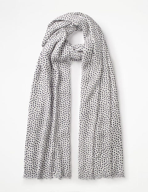 Printed Scarf - Ivory and Navy