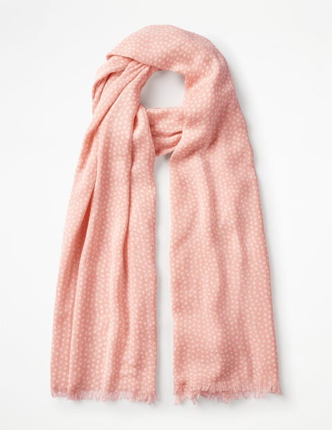 Printed Scarf - Chalky Pink and Ivory