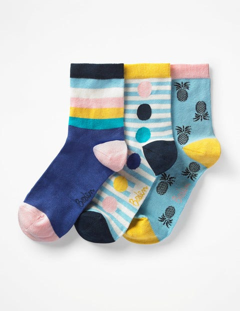 Three Pack Socks - Heron Blue
