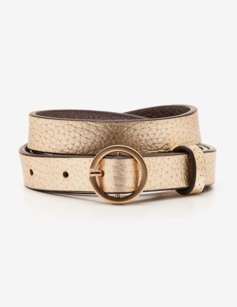 Skinny Waist Belt - Gold Metallic