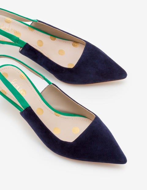 Florrie Kitten Heel Slingbacks - Navy and Herbarium