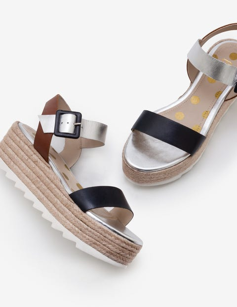 Lena Platform Sandals - Navy, Silver and Tan
