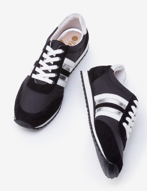 Striped Sneakers - Black, White and Silver
