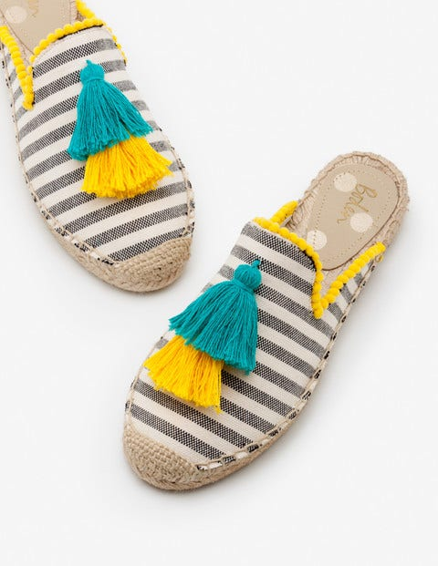 Leila Backless Espadrilles - Navy Stripe