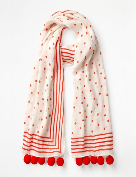 Pompom Scarf - Ivory and Red Pop