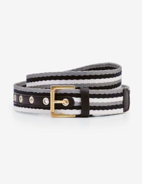 Webbing Belt - Navy/Ivory/Silver