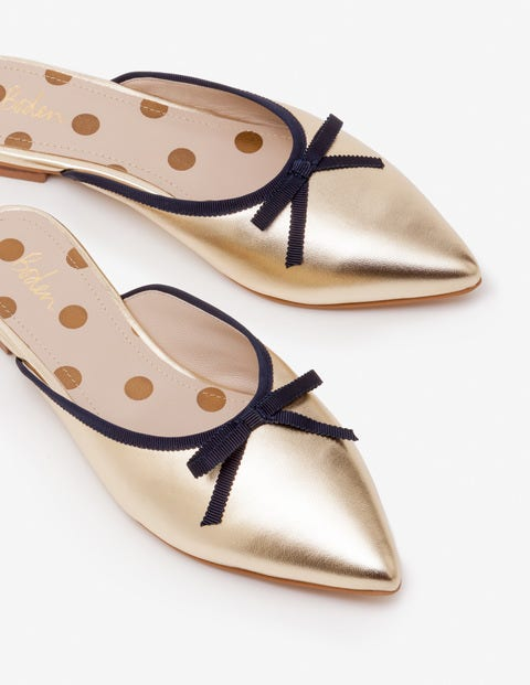 Connie Flat Mules - Gold Metallic