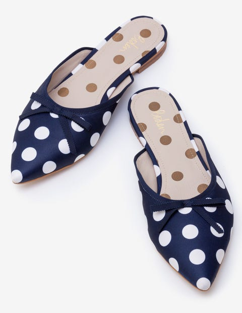 Connie Flat Mules - Navy and Ivory Spot