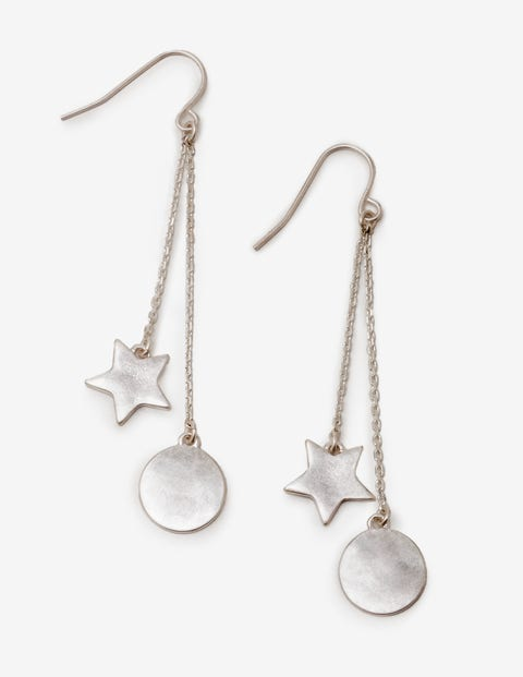 Star Drop Earrings - Silver Metallic