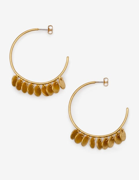 Dainty Disc Hoop Earrings - Gold Metallic