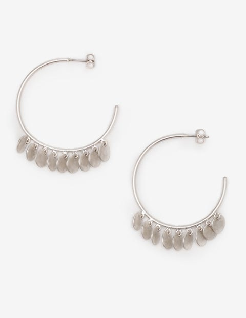 Dainty Disc Hoop Earrings - Silver Metallic