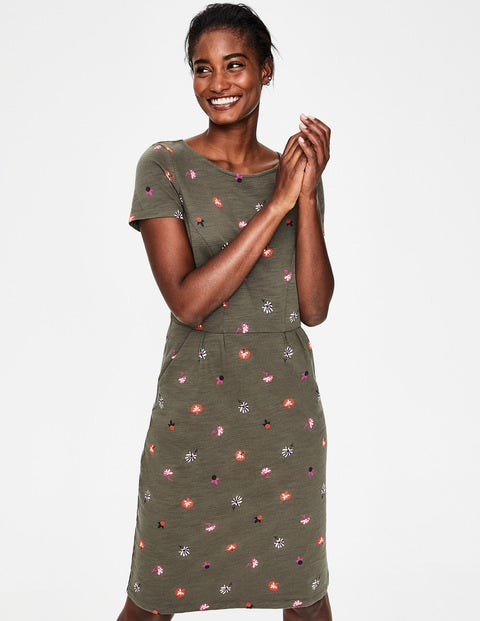 Phoebe Jersey Dress - Classic Khaki Floral Medley