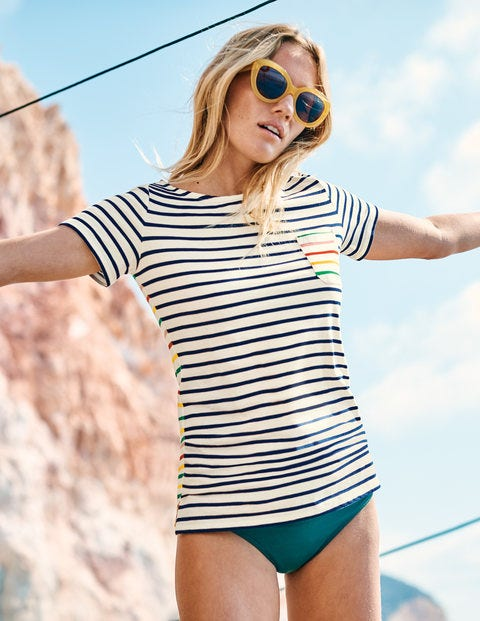 Short Sleeve Breton - Ivory/ Navy Multi Stripe