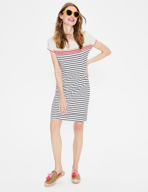 Paulina Jersey Dress - Ivory Multi Stripe