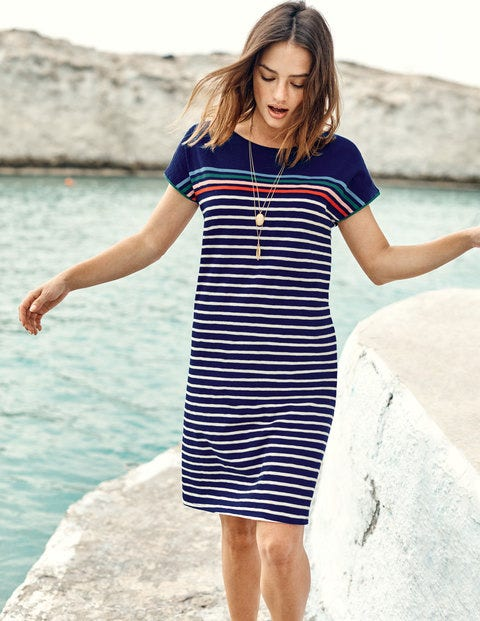 Paulina Jersey Dress - Navy Multi Stripe