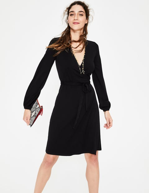 Elodie Jersey Wrap Dress - Black