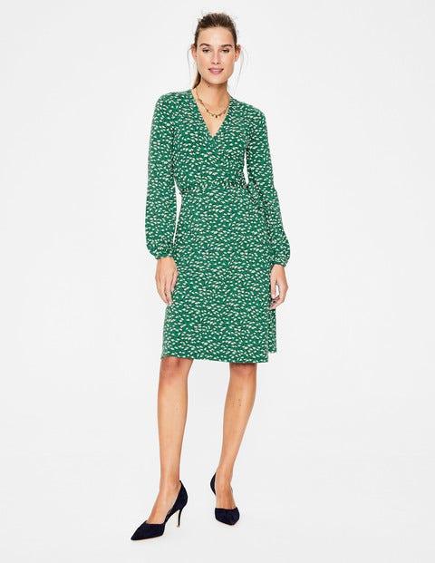Elodie Jersey Wrap Dress - Forest Crocus Flower